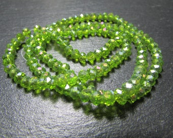 set of 30 light green Crystal 4 mm beads