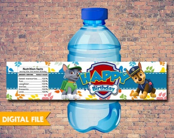 Paw Patrol Water Bottle Labels, Paw Patrol Printable Party Supplies, Paw Patrol Birthday Party Labels, Paw Patrol Birthday Party Invitation