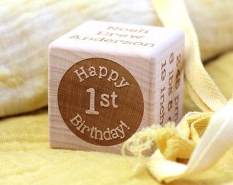 Baby Block First Birthday Milestone Block Personalized Gift New Baby Gift Wood Baby Gift Block Customized Engraved Toddler Birthday Gift