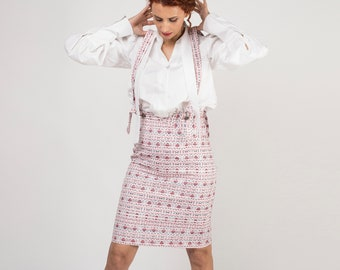 Skirt with suspenders, Knee length,  Asymmetric waist