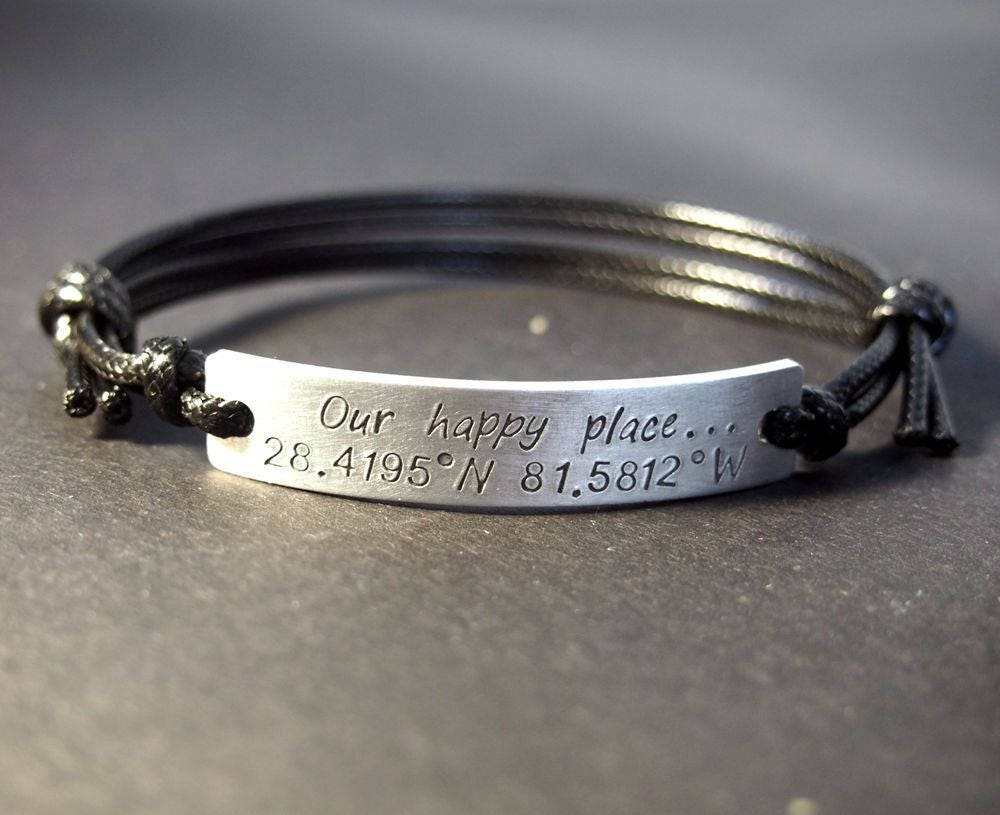 and jewelry in custom item stamp sterling stamped engraved coordinate charm cuff silver personalized from latitude longitude bracelet bangles solid men