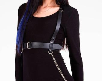 Chain harness,Vegan leather harness,Sex harness,BDSM top,Womens harness,Waist harness,Waist belt,Harness with chain,BDSM fetish,BDSM harness