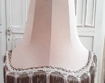 Vintage Downton Abbey style pink brown oval fringe reconditioned lampshade