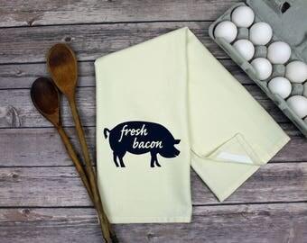 Pig Towel   Farmhouse Kitchen Towel   Tea Towel   Dish Towel   Hand Towel