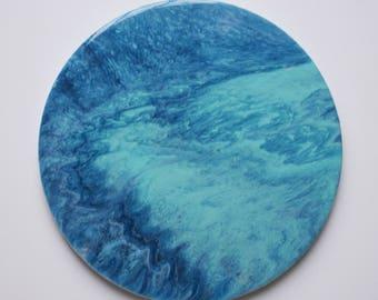 Circular Blue Resin Painting
