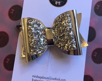 Silver and gold, 4 inch hair bows, hair clips, hair accessories, baby headbands, glitter bows, all handmade