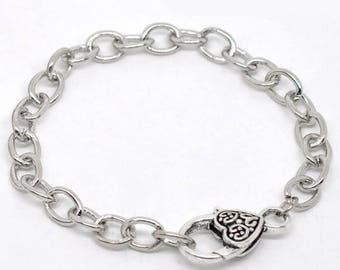 Chain clasp 20cm heart link bracelet
