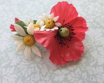 Hair accessories,Red poppy hair clip,Flower hair clip,Clay flower,Poppy jewelry,Hair clip,red poppy,elegant jewelry,Chamomile,poppy hair pin