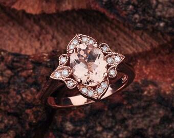 Morganite Halo Engagement Ring Rose Gold, Morganite Engagement Ring, Rose Gold Morganite Engagement Ring, Morganite Rose Gold Ring