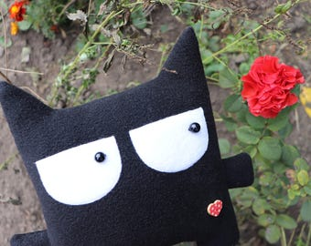 Cat pillow Gift for her Stuffed plush animal Cute black toy Home decor Doll fabric Dog pillow