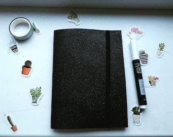 Black brilliant sketchbook, black sheets.