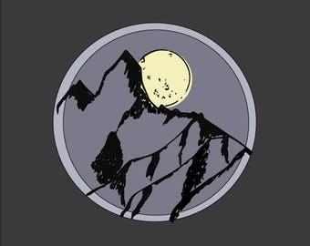 Moon and Mountain Line art, Digital Print, Printable Art, Digital Download