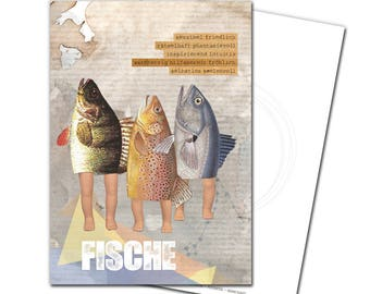 Postcard Zodiac fish congratulations greeting card birthday