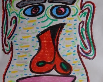 Original Poster Painting Drawing Abstract Face Sky Tempera Paint Stick and Gel Stick 24 x 36