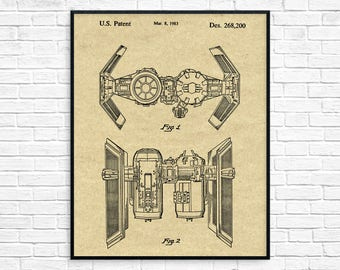 Star Wars TIE Bomber Patent Poster, Star Wars Art, Starwars TIE Bomber Patent, Star Wars Ships, Star Wars Party, Imperial Bomber