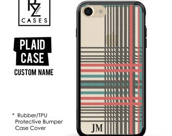 Plaid Phone Case, iPhone 7 Case, Personalized Case, iPhone 6S, Tartan Phone Case, iPhone 6, iPhone 7 Plus,Rubber Case, Bumper Case