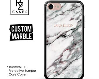 Marble Phone Case, Marble iPhone 7, Personalized Gift for Her, 7 Plus, iPhone 6S, Personalized Gift, Custom, Gift, Rubber, Bumper