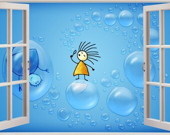 3d window view children fairytale bubbles wall decal sticker frame mural effect home decor bedroom living