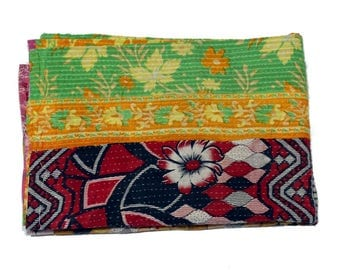 Floral Cotton Vintage Kantha Quilt Gudri Reversible Throw Twin Handmade Quilt Blanket Q38