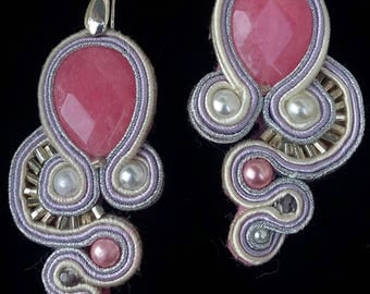 Soutache Earrings with pink agate