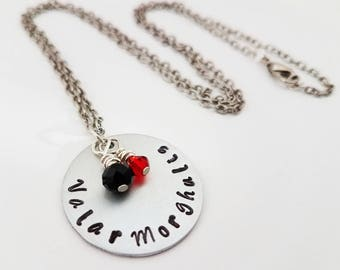 Valar Morghulis Fan Necklace Game of Thrones Jewelry Hand Stamped Metal Winter Is Coming The North Remembers Arya Stark A Girl Has No Name