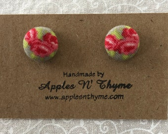 "Fabric button earrings | Three Red Roses | Surgical Stainless Steel Earring Posts | 1/2"" button size"