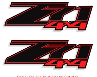 Z71 4X4 Chevy Decals Stickers Truck Silverado Vinyl Decal Sticker Black&Red