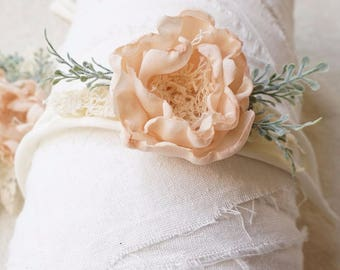 Chiffon flower Newborn tieback, newborn photography props , newborn  headband