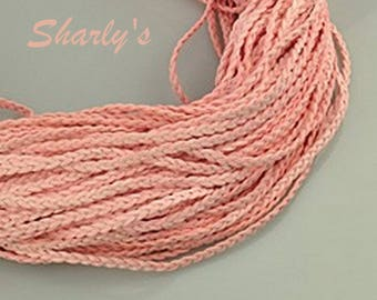 1 m light/coral pink braided suede cord