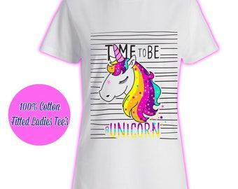 Womans Ladies Girls Tumblr Unicorn Rainbow Pink Glitter Princess Celeb Pug T Shirt