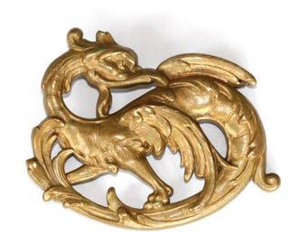 Chimera old brass brooch