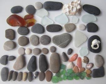 80 PCs Supply for Pebbles Art: Sea Stones; Sea Glass, shells