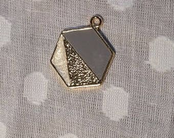 Hexagon pendant with blue, gold and pearl colour detail - charm - jewellery - geometric