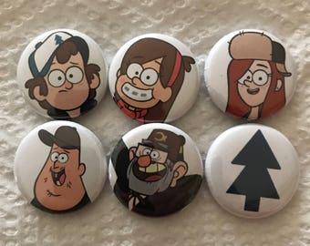 Gravity Falls inspired 6 pin set