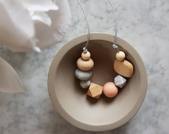 Peach + timber + marble sensory necklace