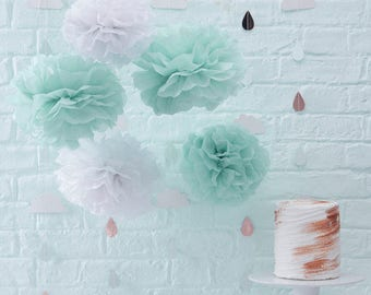 Baby Shower Decoration,Hello World,Mint & White Tissue Paper Pom Poms /Hello World/Baby Shower Party/
