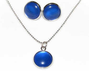 Necklace and Earrings Set - Blue Jewelry Set - Silver Chain Necklace with Deep Blue Pendant - Blue Stud Earrings - Blue Dangle Earrings