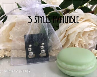 Minimalist Set of 3 silver Pebble Stud Earrings, Round CZ Stud Earrings, Imitation Pearl Stud Earrings - 2mm, 3mm, 4mm