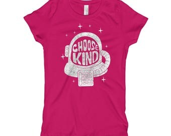 Choose Kind Girl's T-Shirt // Promote Kindness Kids Shirt // Inspirational Trendy Shirt // Anti-bullying Tee