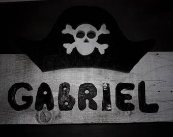 Pirate door plaque wooden cutout