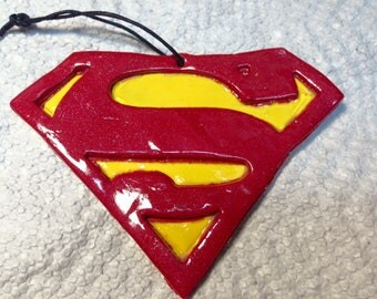 Superman clay ornament.Superman gift tag.Superman party favors.Superman Christmas ornament .