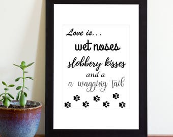 Love Is Wet Noses Slobbery Kisses and a Wagging Tail Sign, Printable Sign