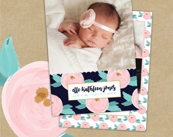 Birth Announcement Template//Birth Announcement for Photographers//Editable Birth Announcement//Newborn Templates for Photoshop//Photoshop