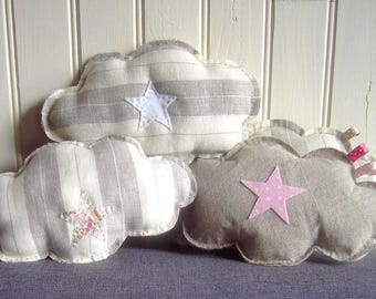 Linen cloud cushion and her little white star