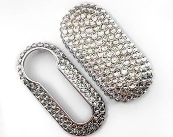 Fiat 500 key cover silver clear rhinestones pop lounge case fob crystal girly car accessories keyring keychain diamante diamond rhinestone b