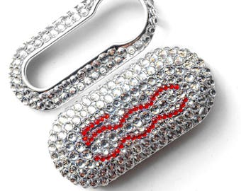 Fiat 500 key cover red and silver logo clear rhinestones pop lounge case fob crystal girly car accessories keyring keychain diamante diamon