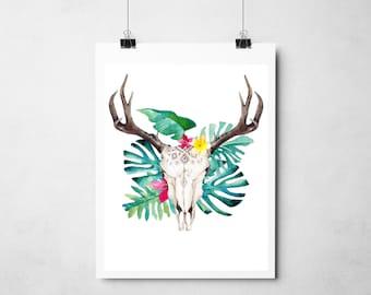 Tropical Boho Bull Print - Wall Art Home Decor