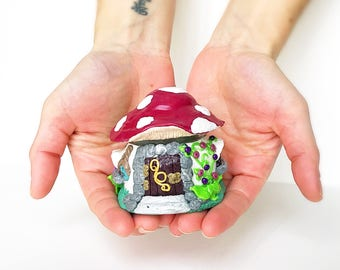 Red Toadstool Polymer Clay Fairy House Jar