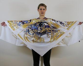Blue Silk Scarf, Poncho Scarf, Wearable Art, Atatya, White Summer Scarf, Designer Scarf, Gift For Her, Fashion Scarf, Scarf, Digital Art,