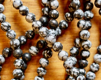 6mm Snowflake Obsidian, full strand, natural stone beads, round, 60081